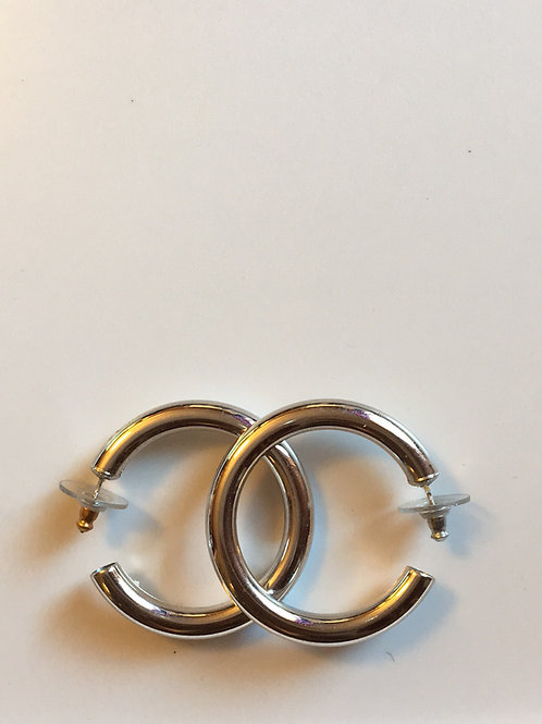 Chunky silver toned hoops