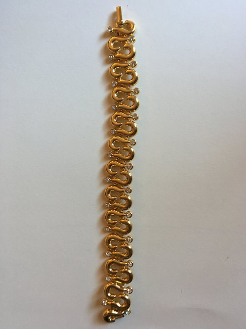 Gold Chain Bracelet with Rhinestones