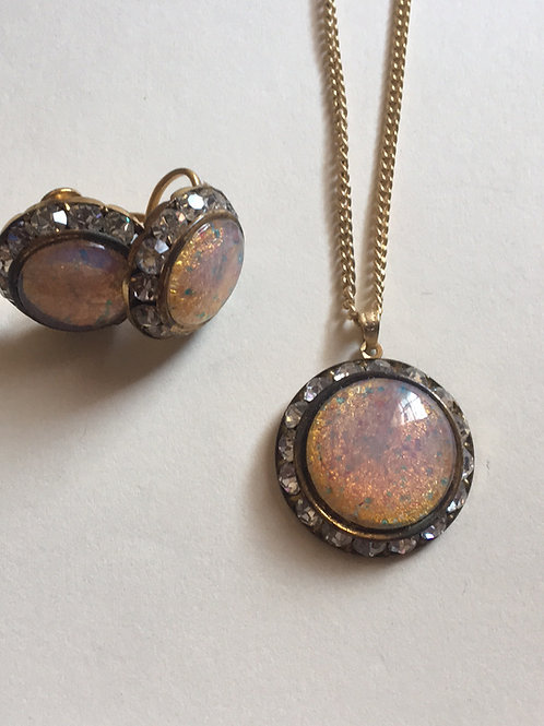 Faux Opal necklace and clip on earring set