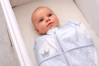 Baby in Puckbaby Original mini blauw wol