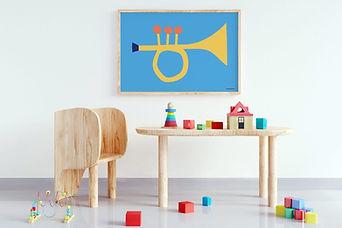 Mamahoela Babykamer Kinderkamer Poster 50 x 70 cm Trompet Blauw Geel.jpg