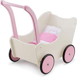 New Classic Toys Houten Poppenwagen met Beddengoed - Créme-min.jpg