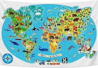 Ulticool - Wereldkaart Kinderkamer Dieren Natuur - Wandkleed - 200x150 cm.jpg