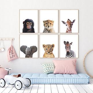 Jungle Poster Set 6 – Aapje Giraffe Tijger Cheeta Olifant Zebra - 40x30cm.jpg