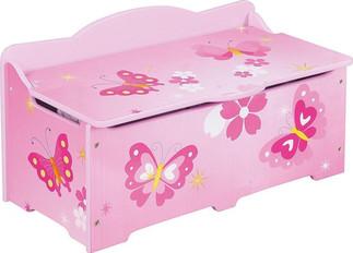 Playwood houten speelgoedkist roze met vlinders