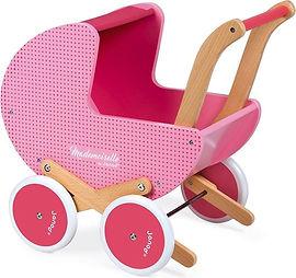 Janod Mademoiselle - Poppenwagen hout roze-min.jpg