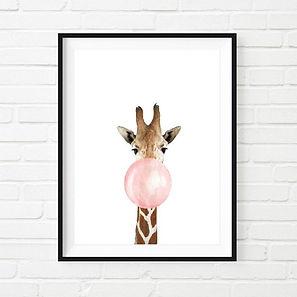 Postercity - Design Canvas Poster Giraffe met Kauwgom.jpg