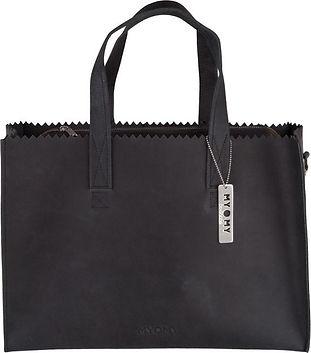 Myomy my paper bag luiertas zwart leder
