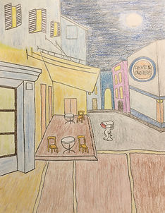 Snoopy walking by cafe terrace during pandemic