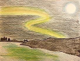 Sketch of aurora borealis
