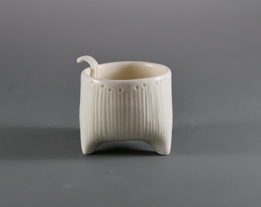 Tiny Porcelain Vessel with  Spoon