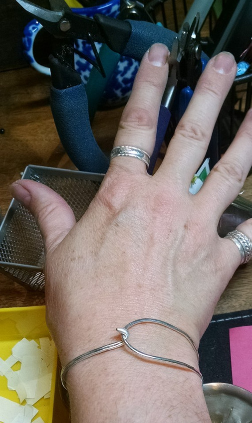 Artists abused hand .. and bracelets of course!