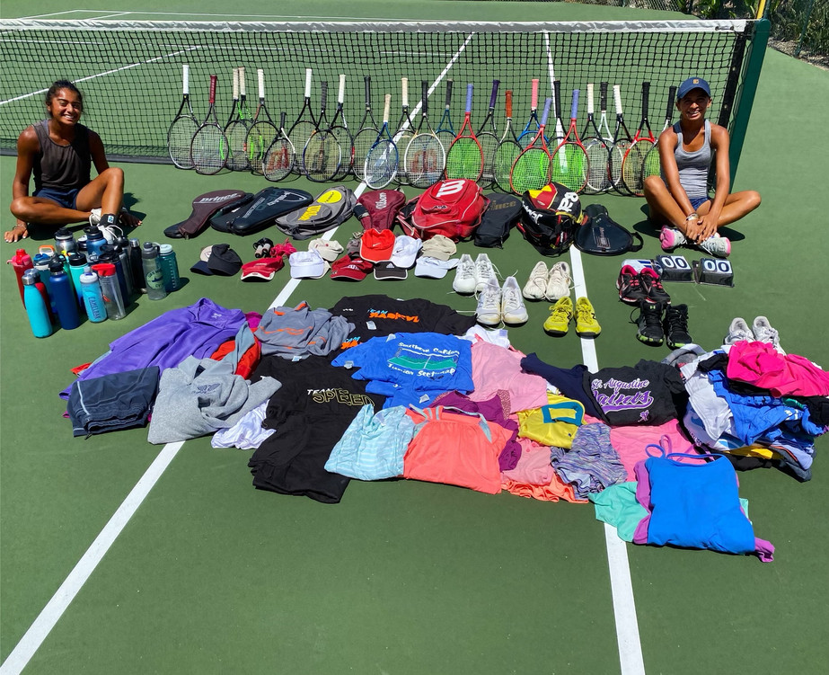 Amani and Ayanna Shah with gently used tennis equipment donation to Mexico