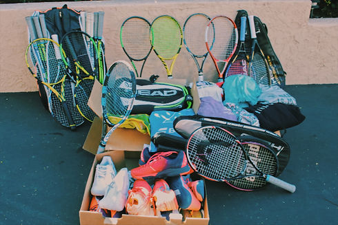 Tennis rackets, tennis bags, tennis shoes, and athletic clothes all donated to underserved communtities around the world.