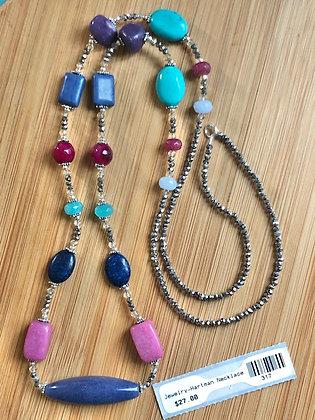 """Multi-colored Stone Necklace 33"""""""