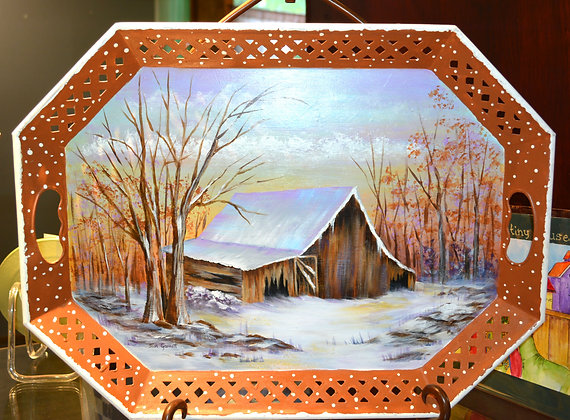 Snow Scene Painted Metal Tray