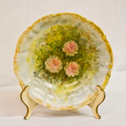 China Painted Plate - Pink Roses