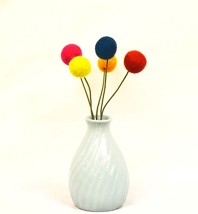 Vase with Felted Flowers