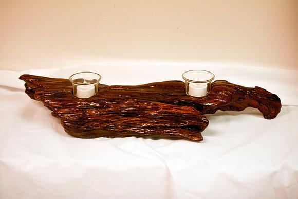Driftwood 2-Hole Candleholder