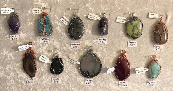 Gemstone Wrapped Pendants