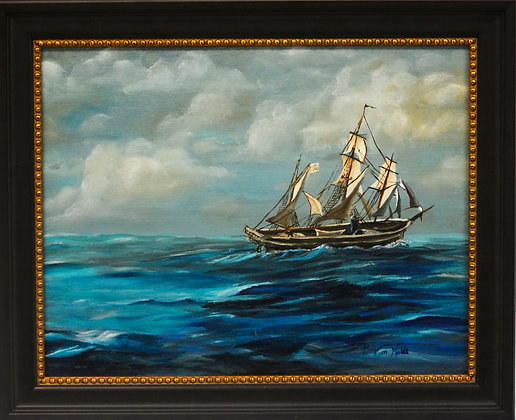 Boat at Sea Framed - Oil