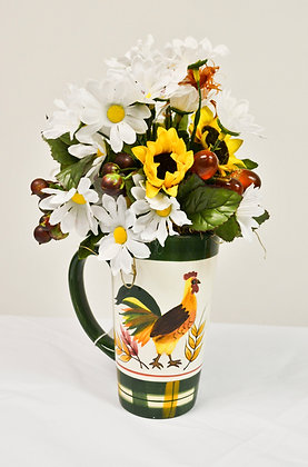 Rooster Vase with Flowers
