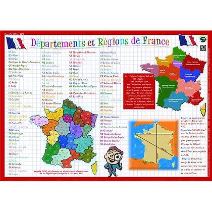 Set de Table Educatif et Sous-Mains Départements et Régions de France
