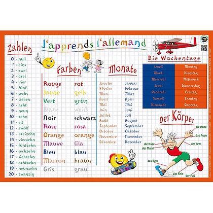 Set de Table Educatif et Sous Mains J'Apprends l'Allemand
