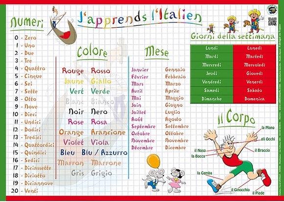 Set de Table Educatif  et Sous -Mains J'Apprends l'Italien