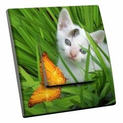 intérrupteur Décoratif Modèle Chat et Papillon