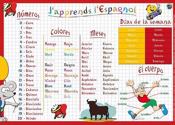 Set de Table Educatif et Sous-Mains J'Apprends l'Espagnol