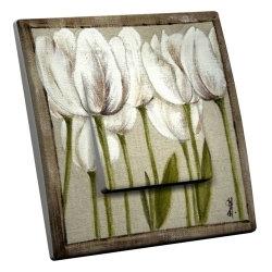 intérrupteur Décoratif Modèle Tulipes Blanches