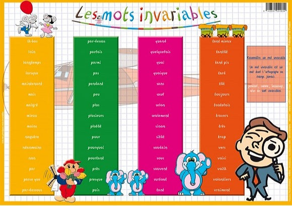 Set de Table Educatif et Sous Mains J'Apprends Les Mots Invariables