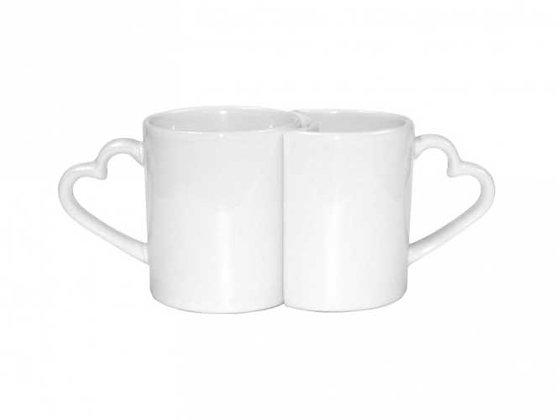 Taza pareja con asa de corazón, ceramica