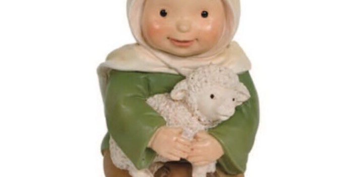 Shepherd with Lamb Kneeling, Naif Style
