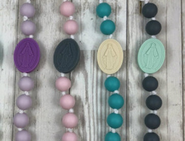 Turquoise and Cream Miraculous Medal Pacifier Clip