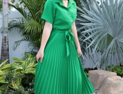 Vittoria Green Pleated Dress