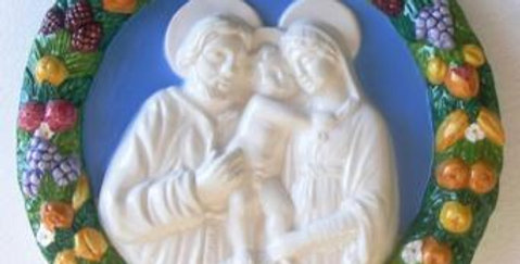 Italian Hand Painted Terracotta, Holy Family Bass- Relief, 28cm