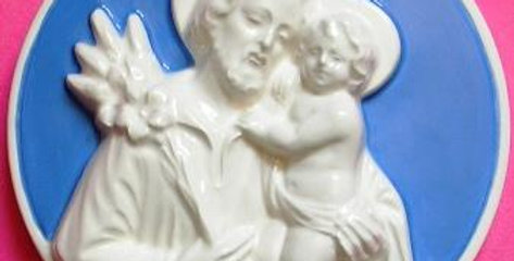 Italian Hand Painted Terracotta, Saint Joseph Bass-Relief 27 cm