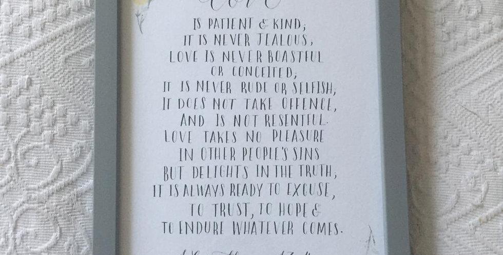 Love, Framed Handwritten Print