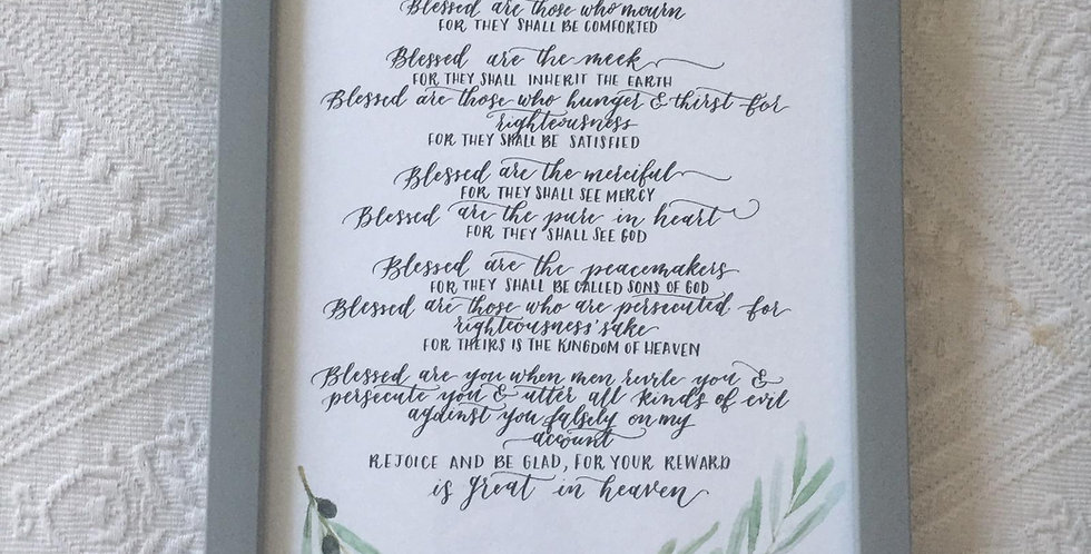 Beatitudes, Framed Handwritten Print