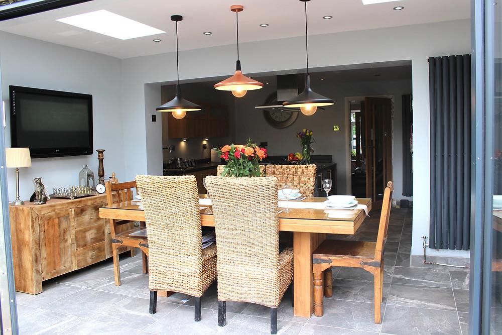 Modern kitchen with bi folding doors