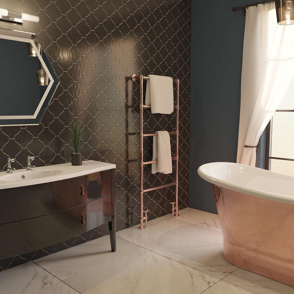 Statement copper roll top bath