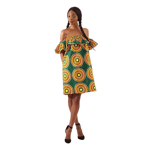 African Circle Print Short Dress: Green