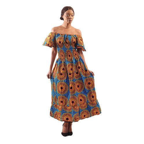 African Circle Print Princess Dress