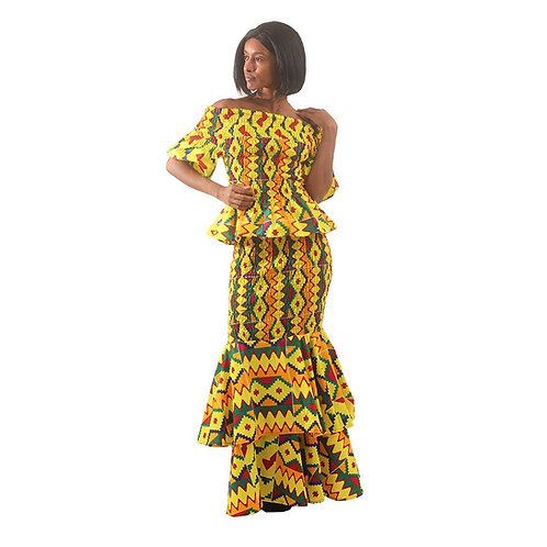 Yellow Kente 2-Piece Elastic Skirt Set