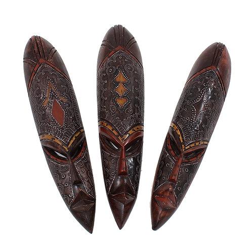 Medium Ghana Fang Mask - Metal/Wood