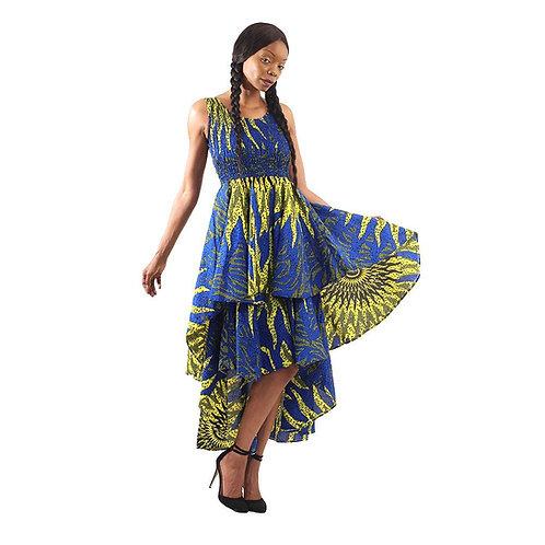 Blue Sun African Hi-Lo Tier Dress