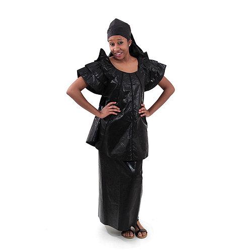 Black Brocade Pleated Skirt Set