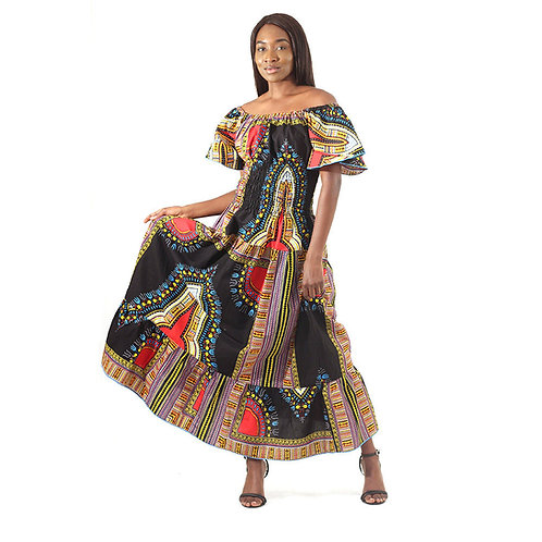 Trad Print Stretch-Top Princess Dress